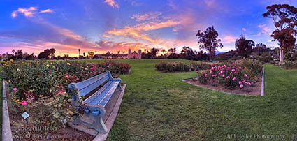 Sunset over the Mission Rose Garden Bench, Custom Fine Art Photography