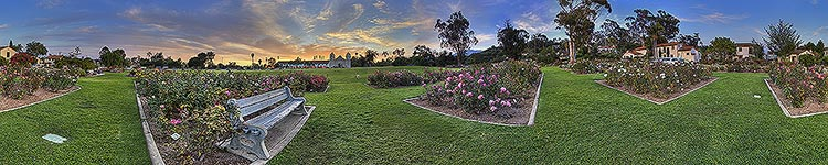 Bench at the Mission Rose Garden - Panoramic 360 degree image