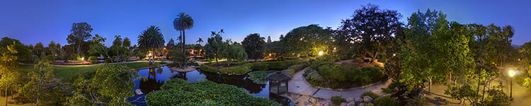 Evening over Alice Keck Park's Garden - Panoramic 360 degree image