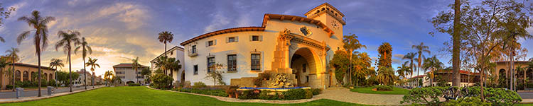Golden Hour at the Santa Barbara County Courthouse - Panoramic 360 degree image