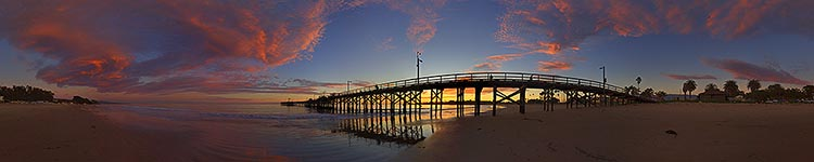 Beside the Goleta Pier at Sunset - Panoramic 360 degree image