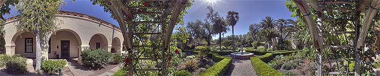 Mission Santa Ines Rose Arbor - Panoramic 360 degree image