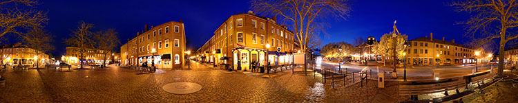 Moonlit Massachusetts Town Square - Panoramic 360 degree image