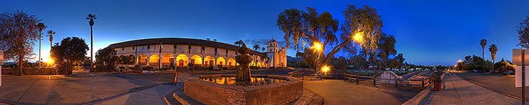 Queen of the Missions Fountain at Twilight - Panoramic 360 degree image