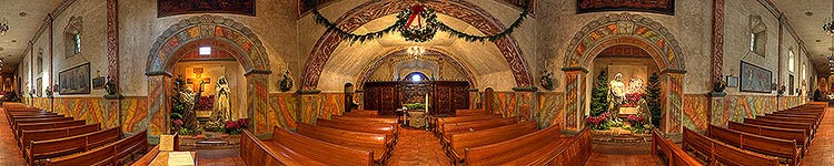 Back of the Sanctuary at the Queen of the Missions - Panoramic 360 degree image