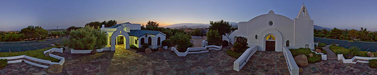 Santa Barbara Greek Orthodox Church at Sunset - Panoramic 360 degree image