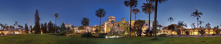 Santa Barbara Courthouse Nighttime - Panoramic 360 degree image