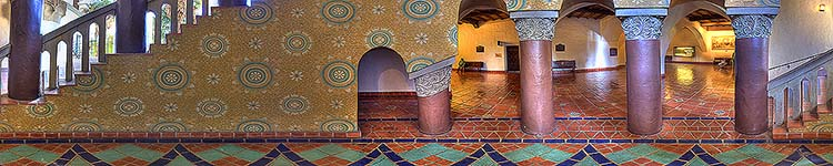 Native Sons of the Golden West Stairway - Santa Barbara County Courthouse - Panoramic 360 degree image