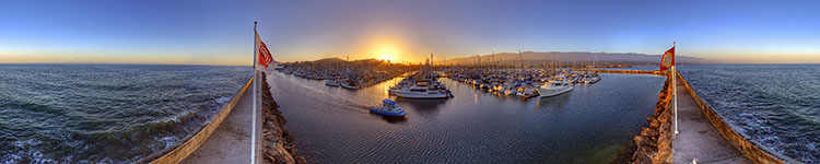 Santa Barbara Harbor Breakwater Sunset - Panoramic 360 degree image