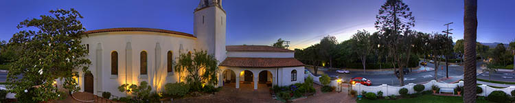 Santa Barbara Unitarian Society - Evening Courtyard - Panoramic 360 degree image