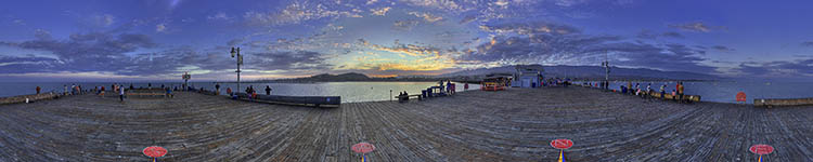 Sunset on the Compass at Stearn's Wharf - Panoramic 360 degree image
