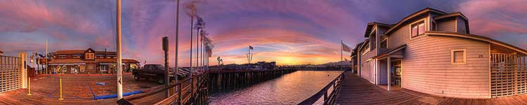 Stearns Wharf Sunset Panorama - Panoramic 360 degree image
