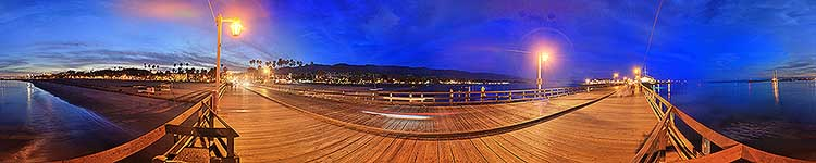 Stearns Wharf Twilight Panorama - Panoramic 360 degree image