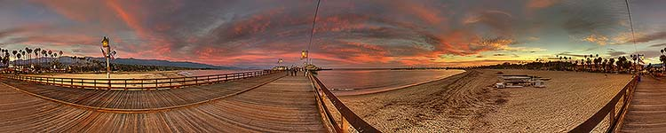 Stearns Wharf Winter Sunset - Panoramic 360 degree image