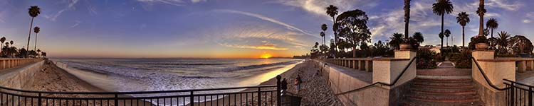 Sunset from the Butterfly Beach Stairs - Panoramic 360 degree image