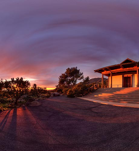Vedanta Temple Sunset Panorama by Bill Heller