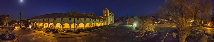 The Queen of the Missions and the Big Dipper - Panoramic 360 degree image
